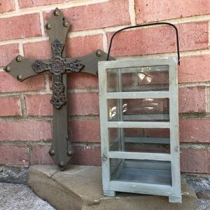 Reclaimed Wood Cross and Candle Lantern Ho…